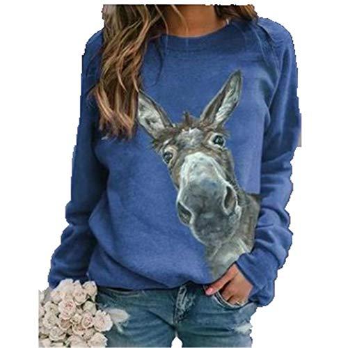 ZFQQ Herbst- und Winter-Damen-Langarmhemd mit lässigem Rundhalspullover