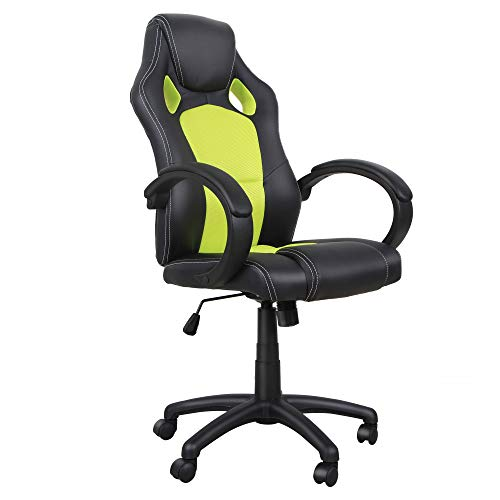 HOMCOM RacingChair Gaming Sports Swivel Desk Chair Executive Leather Office Chair Computer PC chairs Height Adjustable Armchair(Black & green)