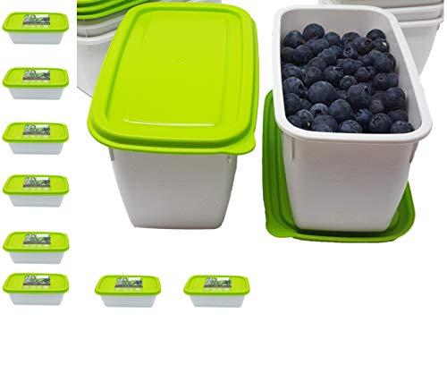 greenline 8 Gefrierdosen Vegan Natürlicher Bio-Kunststoff aus Zuckerrohr 1 Liter Inhalt BPA frei Robust Bruchsicher Spülmaschinenfest Mikrowellengeeignet