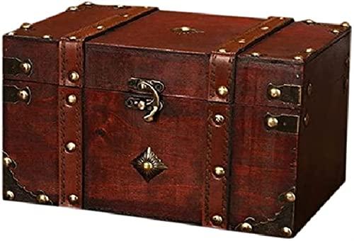 ZFQZKK Pirate Treasure Tlinket Cajas Retro Treasure Court Vintage Caja de almacenamiento de madera Estilo antiguo Organizador de joyería for joyería Caja de trinket Big for party Favors Precs Decoraci