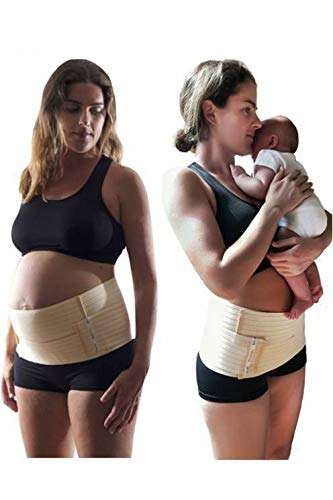 Belly Bands 3 in 1 Maternity for Pregnancy, C-Sections and Post Pregnancy. Reduces Lower Back Pain and Helps caesarean Section Recovery. Fully Adjustable. Soft Cotton. Beige