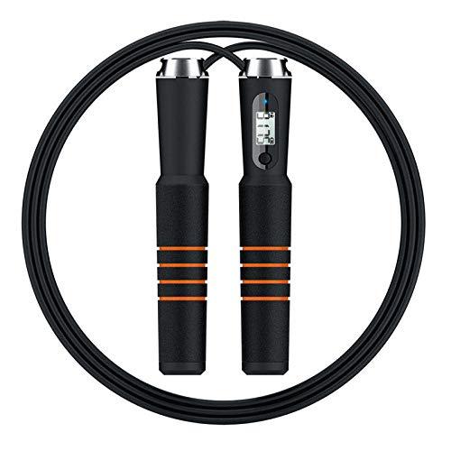 Longitud Ajustable Comba para Entrenamiento para Fitness Boxing Jump Gym, Alambre De Acero Negro Cuerda con Contador Mango De Esponja Negra