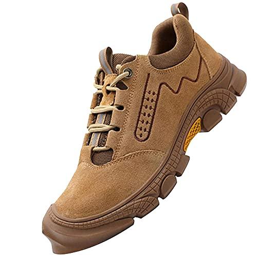 Zapatillas de Seguridad con Punta,Seguridad para Hombre con Puntera de Acero Zapatillas de Seguridad Trabajo, Calzado de Industrial y Deportiva,Khaki▁45