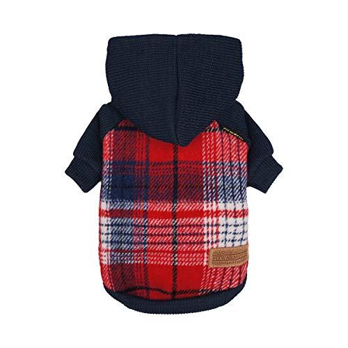 Fitwarm Strickpullover für Haustiere, Hundepullover mit Kapuze, Sweatshirts für Katzen, Rot, XXL