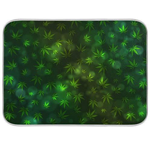 Tapis de séchage en microfibre pour comptoirs de cuisine en microfibre Protecteur de coussin sec 16 x 18 pouces feuille verte