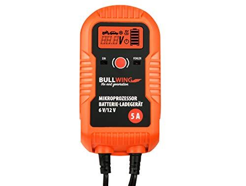 Bullwing Batterieladegerät 6V / 12V / 5A Intelligentes Vollautomatisches 9-stufige Ladegerät KFZ PKW Auto Motorrad Orange