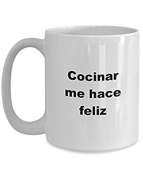Cocinero Regalo Taza Cocinar me hace feliz para Cumpleanos Navidad el dia de las Madres dia del Padre para Hombre Mujer mug in Spanish