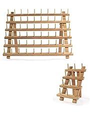 Houten klossenrekken - Set van 2 | 60 + 12 spoelen | Garenhouder & Brothread Stand | Opslag van borduurgaren | Naaigaren en quilthaken | M&W