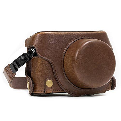 MegaGear Leder Kameratasche für Panasonic LUMIX LX100, DMC-LX100 Kompaktkamera (Dunkelbraun)(Bodenklappe)