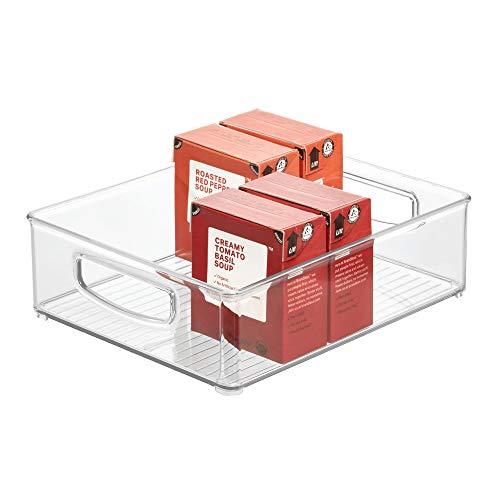iDesign Aufbewahrungsbox für die Küche, großer Küchen Organizer aus Kunststoff, offene Kühlschrankbox mit Griffen, durchsichtig, 20.3 cm x 25.4 cm x 7.6 cm