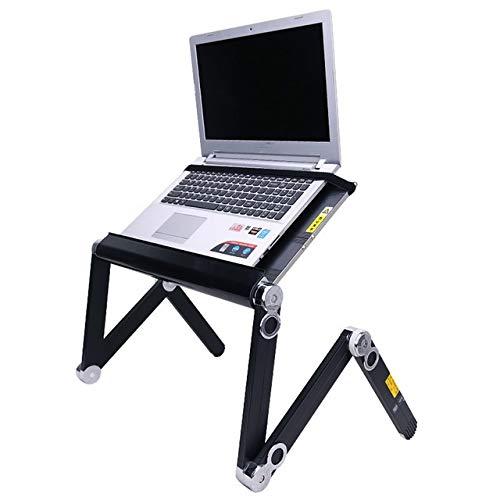 IGOSAIT Cuaderno ajustable de 360 grados, adecuado con ventilador de refrigeración plegable, portátil, mesa de escritorio, bandeja para cama y sofá mesita de noche (color negro)
