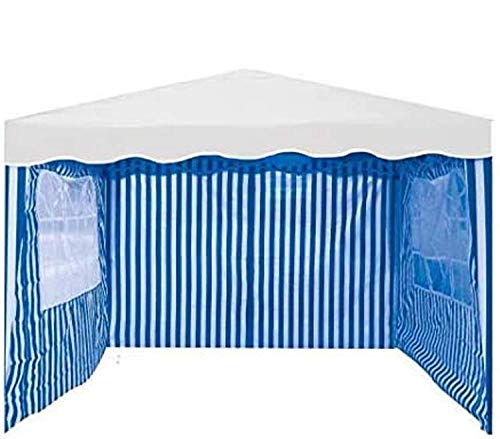 Voche Pack of 3 Side Panels for 3m x 3m Garden Gazebo - Blue & White Stripe with Windows