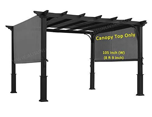 ALISUN Replacement Sling Canopy (with Ties) for 10 FT Pergola #S-J-110 & TP15-048C (Charcoal)...