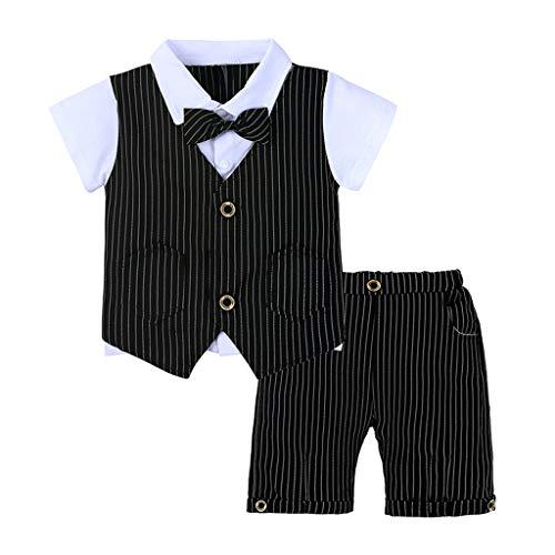 Baby Set Junge Herren Fliege T-Shirt Plaid gestreifte Weste + Shorts Outfit