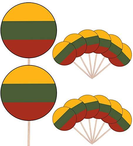 Litouwen Vlag Partij Voedsel Cake Cupcakes Picks Sticks Vlaggen Opstaan Decoraties Toppers (Pak van 14)