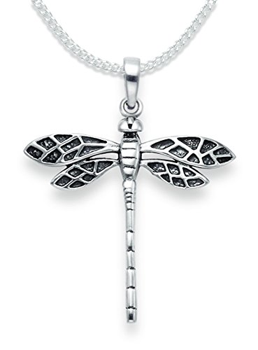 Sterling Silver Dragonfly Pendant Necklace on 18' silver chain - oxidised finish - SIZE: 28mm x 29mm Gift Boxed. 8095/18