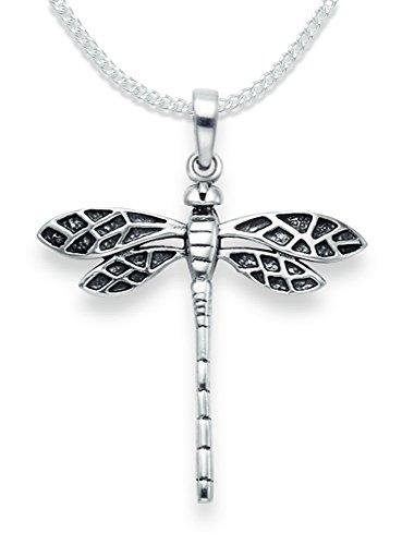 Halskette mit Libellen-Anhänger, aus Sterlingsilber mit 40,6 cm Silberkette - oxidiertes Finish - Größe: 28 x 29 mm, in Geschenkverpackung, 8095/18