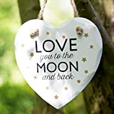 I love you to the Moon and Back Heart White Wooden Plaque - Golden Stars by Sass and Belle