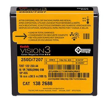 Kodak 16 mm Vision3 100ft (33m) 250D/7207