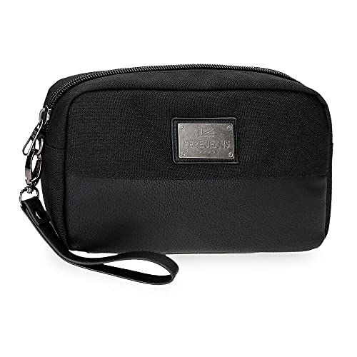 Pepe Jeans Scratch Bolso de Mano Negro 24,5x15x6 cms Poliéster