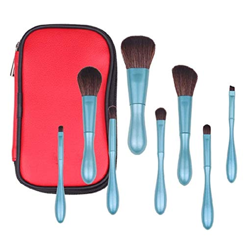 Make-up borstel set poeder blozen oogschaduw borstels make-up borstel kit 8 stks zacht synthetisch haar ogen schaduw lip lijn borstel geschikt voor alle huidtypen (blauw)