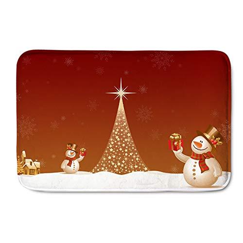 Lee My Decoración del hogar Alfombra de Navidad de Dibujos Animados Muñeco de Nieve de Navidad Estrella Árbol de Navidad Alfombra Alfombra Alfombra Antideslizante Felpudos,Merry Christmas,60 * 180cm