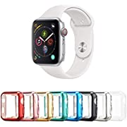 Tranesca 8 Pack 40mm Apple Watch case with Built-in HD Clear Ultra-Thin TPU Screen Protector Cover for Apple Watch Series 4/5/6 and Apple Watch SE (Clear+Black+Gold+Rose Gold+Red+Blue+Green+Silver)