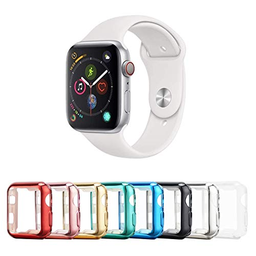 Tranesca 8 Pack 38mm Apple Watch case with Built-in HD Clear Ultra-Thin TPU Screen Protector Cover Compatible with Apple Watch Series 2 and Series 3 (Clear+Black+Gold+Rose Gold+Red+Blue+Green+Silver)