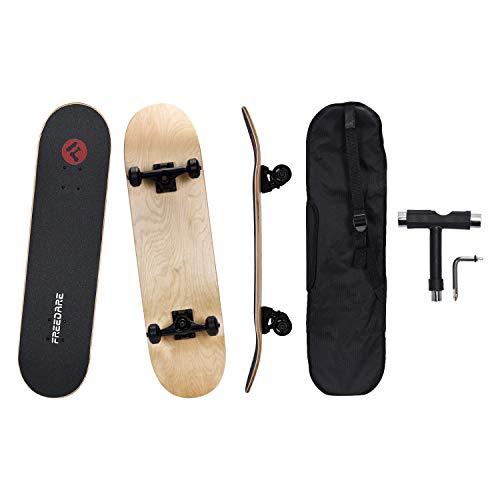 FREEDARE Complete Skateboards 80 Skateboard for Kids and Beginners Blank Skateboard Deck for DIY with Carry Bag amp AllinOne Skate Tool