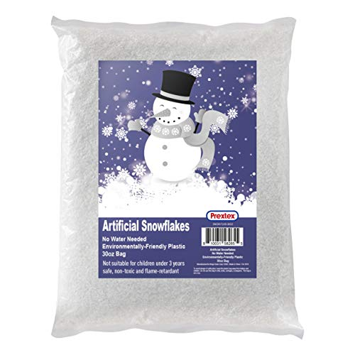 Artificial Snow 30 Ounces Fake Snow Flakes for Christmas Tree Decoration, Village Displays - Sparkling White Dry Plastic Snow for Holiday Decor and Winter Displays