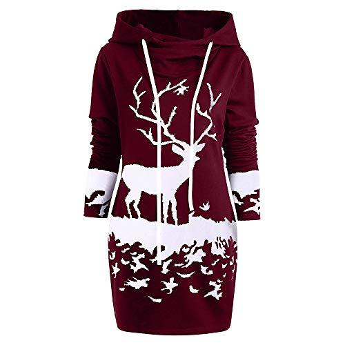 Riou Weihnachtskleid Pulloverkleid Damen Herbst Langarm Schneeflock Lang Gedruck Knielang Hoodie Sweatshirt Blouse Kleider (L, Wein E)