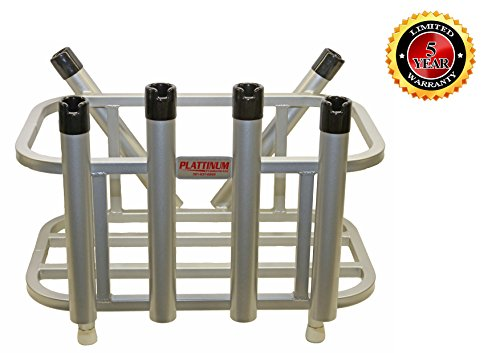 Plattinum Products Jet Ski Fishing Rod Rack & Cooler Holder Combo (Mill Finish)