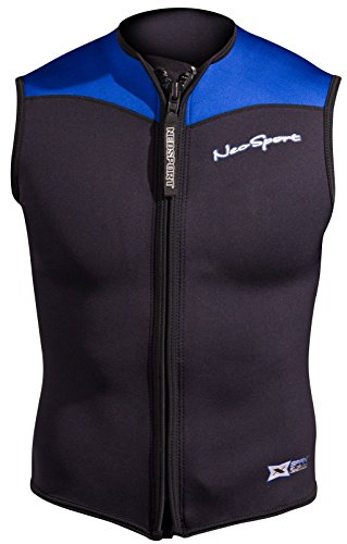 NeoSport Men's 2.5-mm XSPAN Vest (Black with Blue Trim, X-Large) - Water Sports, Diving & Snorkeling