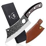 Freelander Kochmesser Küchenmesser Grillmesser aus kohlenstoffreichem Stahl Outdoor-Messer Hackmesser mit scharfer Klinge für zu Hause Ausflug Camping