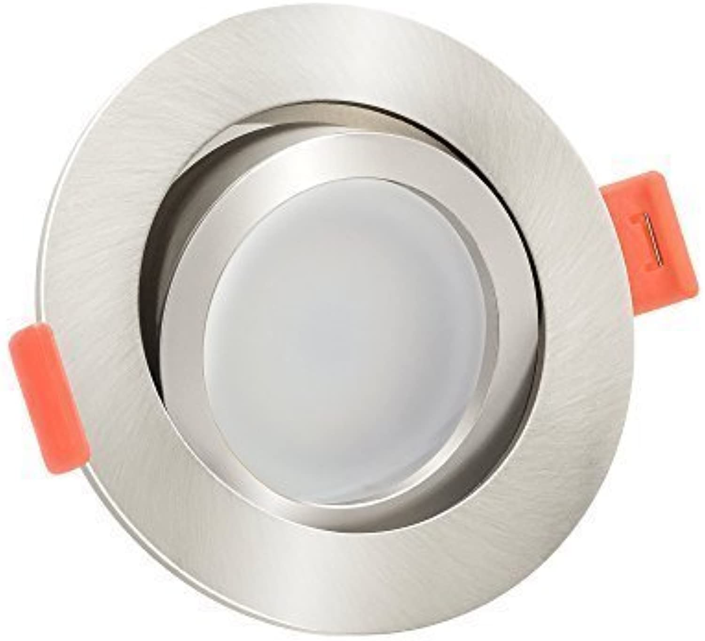 10x dimmbare, flache (25mm) LED Einbau-Strahler  6W statt 70W  230V  2700 Kelvin  warmweie Lichtfarbe  Eisen-gebürstetes Aluminium  10er Set 2700K