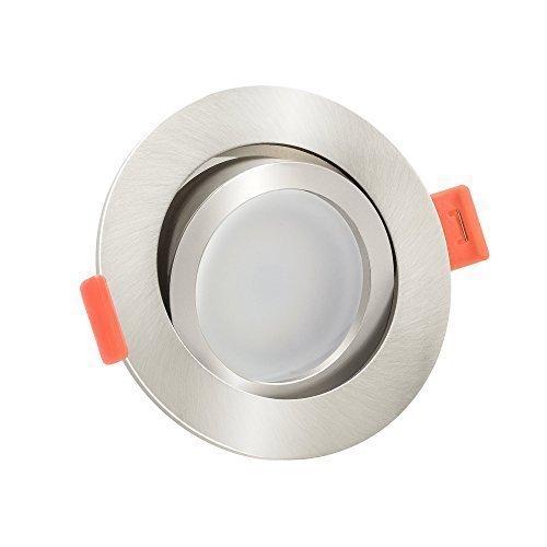 1x dimmbare, flache (25mm) LED Einbau-Strahler   6W statt 70W   230V   2700 Kelvin   warmweiße Lichtfarbe   Eisen-gebürstetes Aluminium   1er Set 2700K