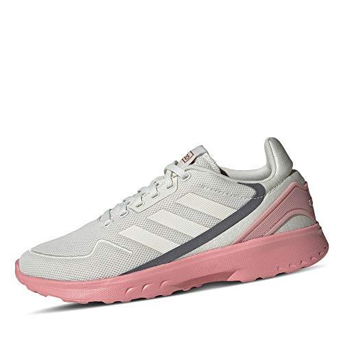 adidas Damen Nebzed Laufschuhe, Orbit Grey/Cloud White/Pink Spirit, 40 EU