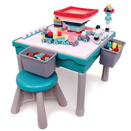 QINGMM Juego de sillas de Mesa de Actividades múltiples para niños, con 200 Bloques, Mesa de Juego de Ejercicio para niños con Caja de Almacenamiento, para niños, niñas, Entretenimiento y Aprendizaje