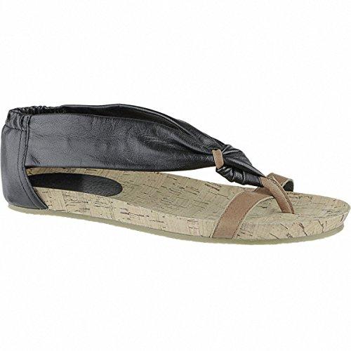 SPM Coole Damen Leder Sandalen schwarz, modische Sohle, 1040149/38