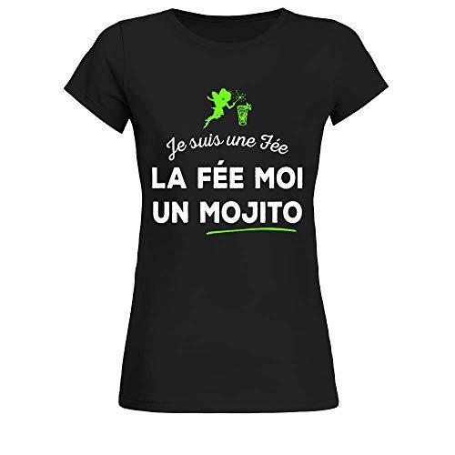 TEEZILY T-Shirt Femme Je suis Une fée, la fée Moi Un Mojito - Noir - M
