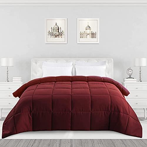 ELNIDO QUEEN All-Season Red Down Alternative Quilted Comforter- Corner Duvet Tabs-Machine Washable-Duvet Insert or Stand-Alone Lightweight Comforter-Queen Size(88×92 Inch)