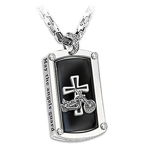 Bikers Blessing - Collar de cadena de bicicleta para hombre, muy personal grabado, collar con colgante de cruz de oración, regalo para motociclistas