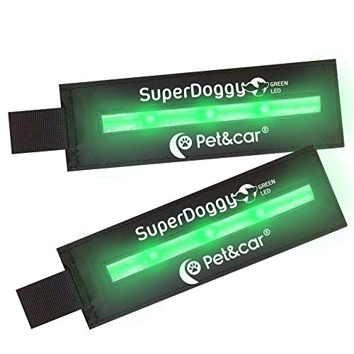 SUPERDOGGY. Luz led para Perro con Tres Modos de iluminación para Noche. Parche de Velcro Luminoso y Recargable USB.