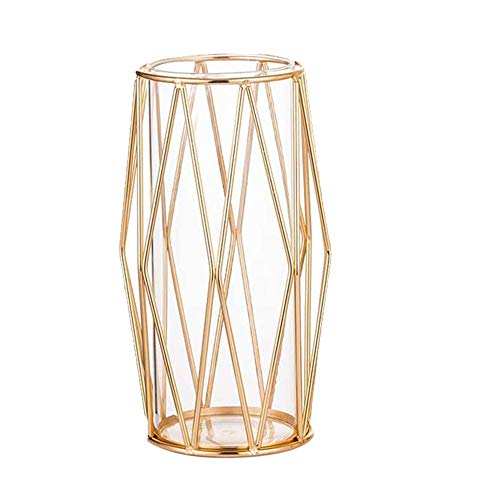 SNOWINSPRING - Florero de cristal con soporte de metal, jarrones para boda, oficina en casa (8,5 pulgadas)