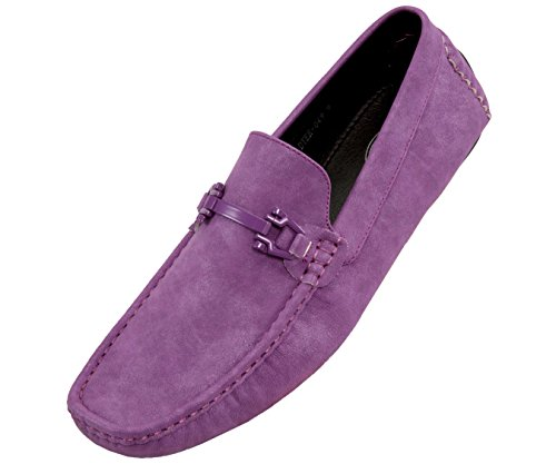 Amali Dysion - Mens Dress Shoes - Moccasins for Men - Slip On Shoes Men - Mens Driving Shoes - Loafer Shoes for Men - Mens Loafers - Purple Size 12