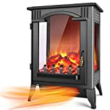 TRUSTECH Electric Fireplace Heater - 1500W / 750W Infrared Fireplace Heaters for Indoor Use Electric with 3D Flame Effect, Adjustable Flame Brightness, Large Size Room Fireplace Space Heater Stove