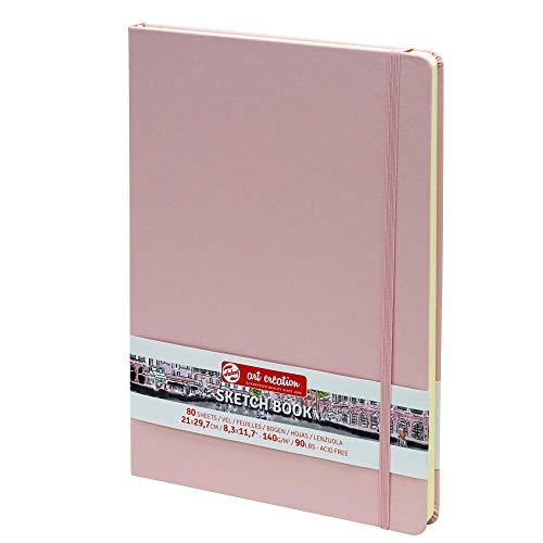 Royal Talens - Cuaderno de bocetos (A4, tapa dura, 80 hojas, 140 g/m², 21 x 29,7 cm), color rosa pastel