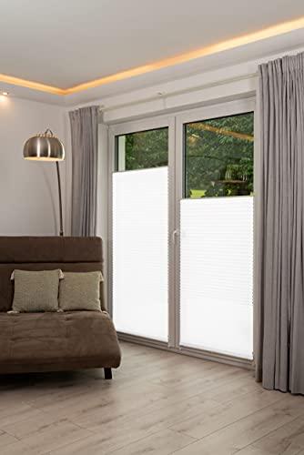 K-home Klemmfix-Plissee Weiß 85 x 210 cm (B x L) Lichtschutz +++ Moderne Crushed Optik +++