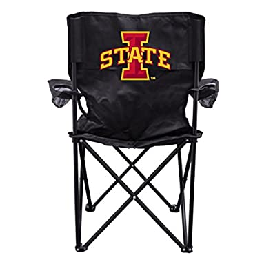 VictoryStore Outdoor Camping Chair - Iowa State University Block I Logo Black Folding Camping Chair with Carry Bag