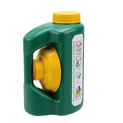 ECOHOUSE Small 2.2LT Tanica Verde per Il Recupero e contenimento dell'olio Alimentare Usato e di frittura per Raccolta differenziata con Tappo Sicurezza Bimbo, Imbuto e griglia filtraggio, plastica